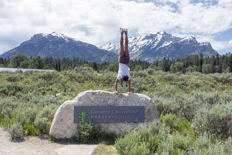 Adventure Grand Teton National Park  Handstandeveryday Handstandseverywhere Laurance Rockefeller Preserve Lifestyles Mountain Mountain Range One Person Real People Welcome Sign