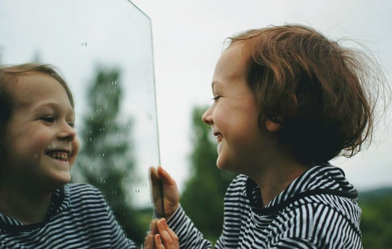 Child Two People Happiness Striped Togetherness Smiling Enjoyment Childhood Toothy Smile Laughing Boys Fun People Love Casual Clothing Cheerful Summer Mirror Mirror Reflection