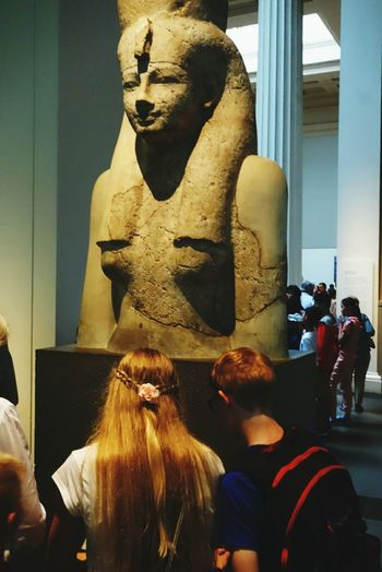 Hello World Taking Photos Farao ang God modern Warship or just Curiosity by Young Siblings British Museum London