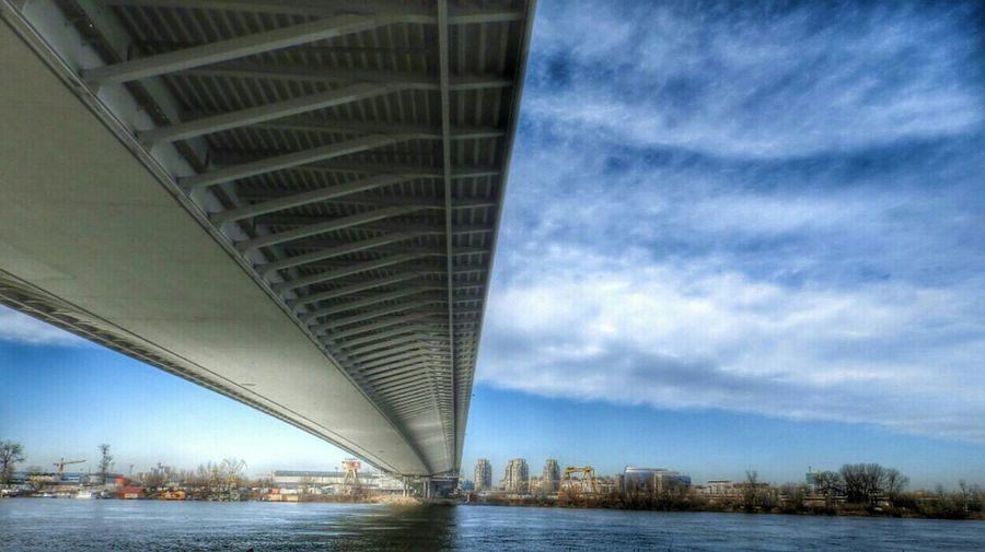 Reflection Under The Bridge Bridgeporn Belgrade Serbia Adabridge MostnaAdi Riversava #Belgrade #skylovers #photography
