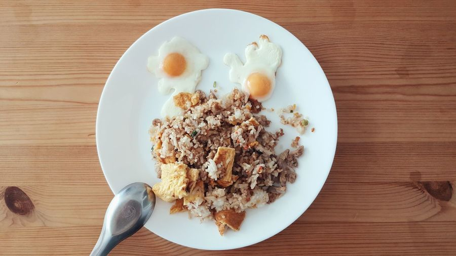 Thai Food Rice Cute Little Eggs Wooden Table Eat Eating Fried Rice Yolk Food And Drink Top View Lunch Delicious