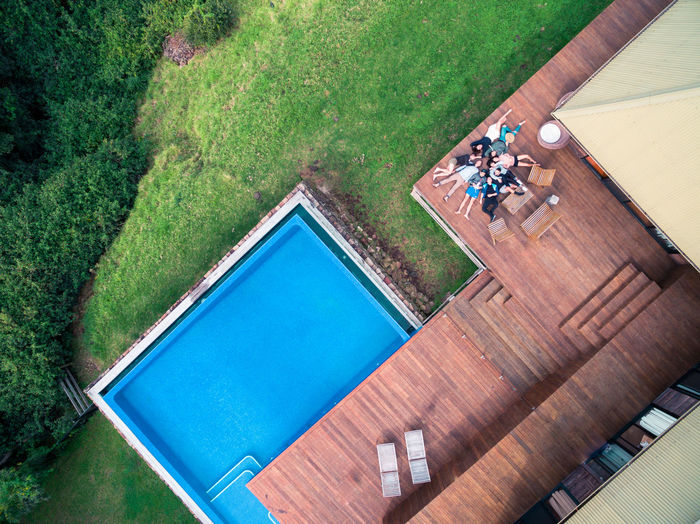 High angle view of people in swimming pool