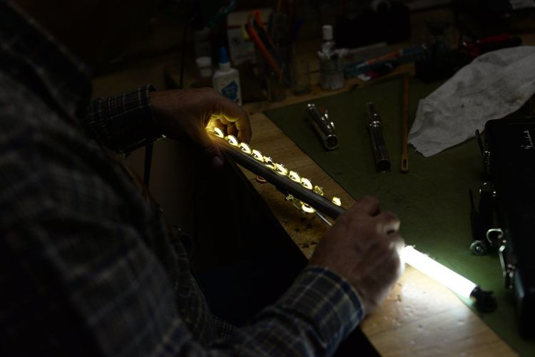 Indoors  Instrument Maker Men One Man Only One Person Skill  Working Workshop