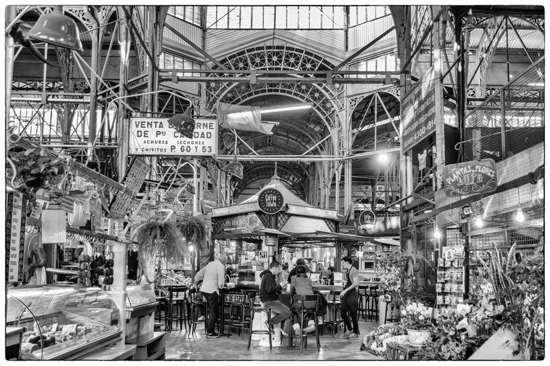 Argentina Indoors  San Telmo Buenos Aires People Market Mercado Argentina Coffeetown Architecture Lines Bnw Black And White Blackandwhite Blackandwhite Photography Coffee Shop