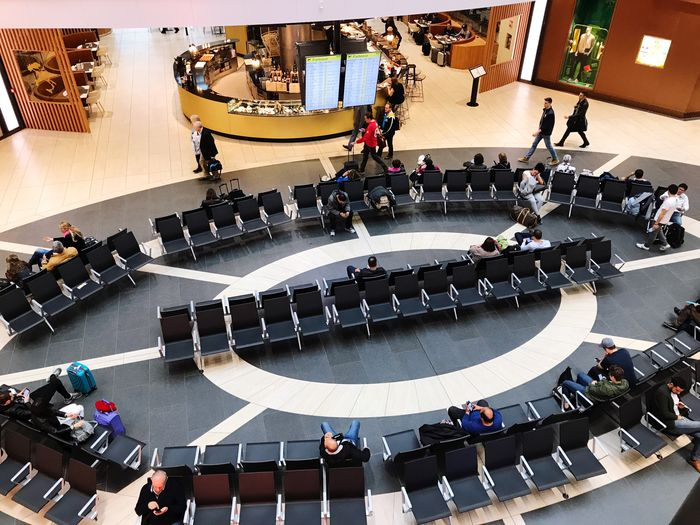 People Airport High Angle View Large Group Of People Indoors  Chair Architecture Women Real People Sitting Auditorium Seat Adults Only Adult Day Abudhabi