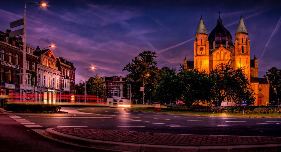 Church in city at night