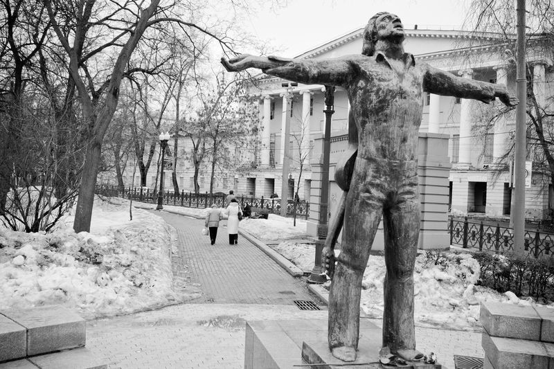 Statue by bare trees and buildings during winter