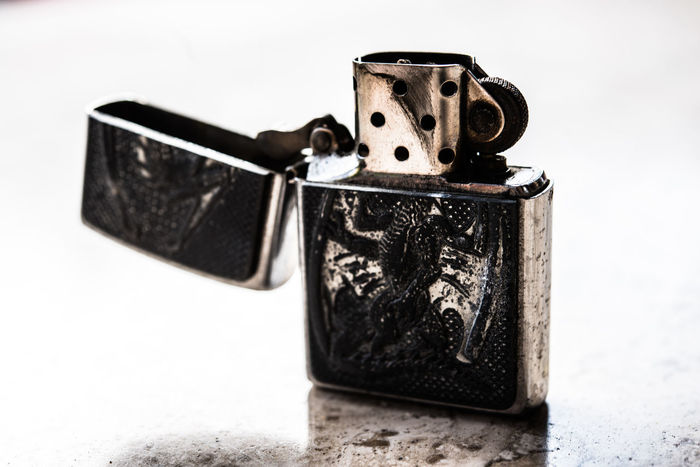 Close-up Fire Horizontal Lighter Macro Metal - Material No People Zippo