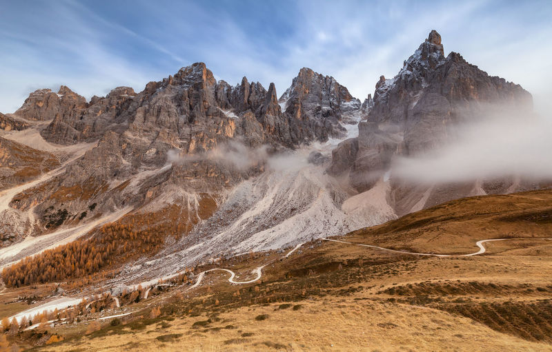 Panoramic view of landscape and mountains against sky in dolomites mountains