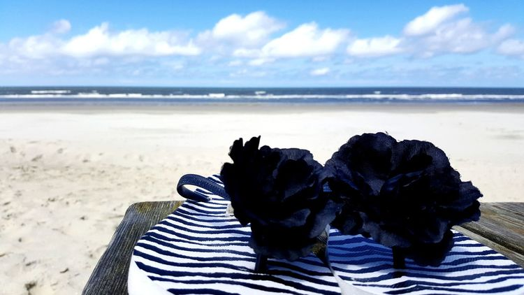 Beach Sea Sand Horizon Over Water Nature Sky Wave Blue Day Cloud - Sky Outdoors No People Beauty In Nature Close-up Slippers At The Beach Flipflopswillalwaysbeloved Happy Feelings