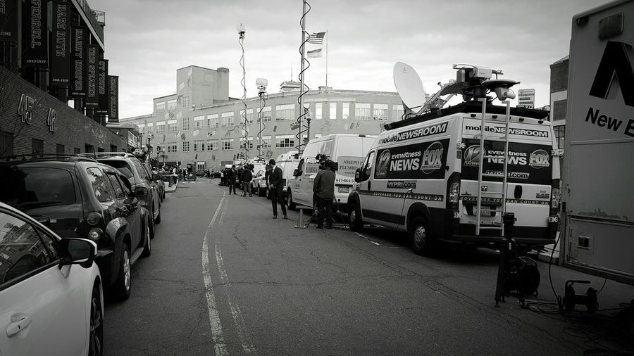 Human Meets Technology Live BroadcastingNews Correspondent Post Game Wrap Up S6 News Media Boston, Massachusetts EyeEm EyeEm Gallery Eyeemphotography B&w Edit EyeEm Best Shots - Black + White News Vans Streetphoto_bw