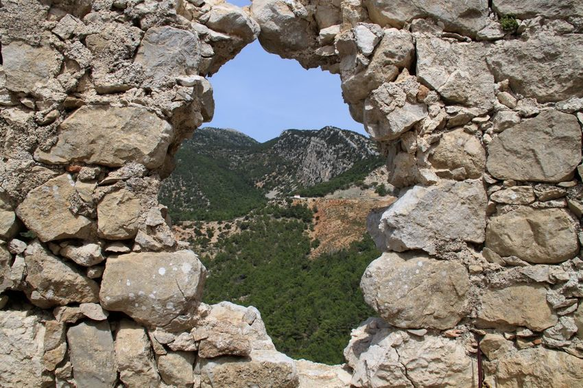 Architecture Beauty In Nature Built Structure Frame It! Framed Geology Monolithos Monolithos Rhodes Greece Nature No People Old Ruin Outdoors Rhodes Rock - Object Rock Formation Ródos Scenics Sunlight Perspectives On Nature
