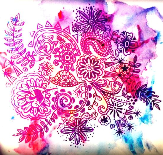 Tangling EyeEmNewHere Paint And Ink Purple Watercolor Painting Watercolor No People Indoors  Red Large Group Of Objects Food And Drink Pattern Directly Above Pink Color