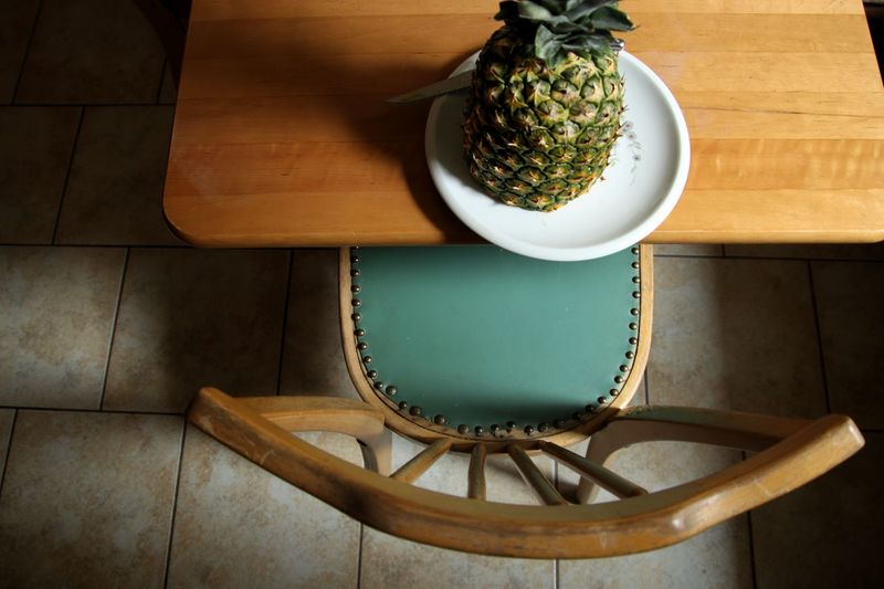 High angle view of pineapple on table