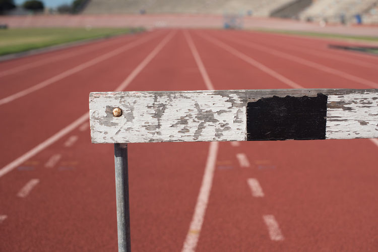 Close-up of hurdle on of sports track