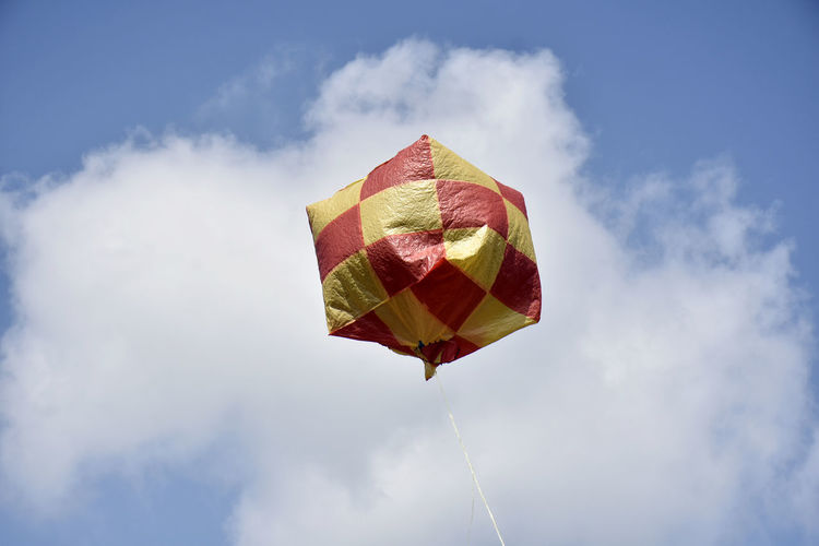 Hot air balloon, floated in the clear blue sky, for fortune in the north of thailand