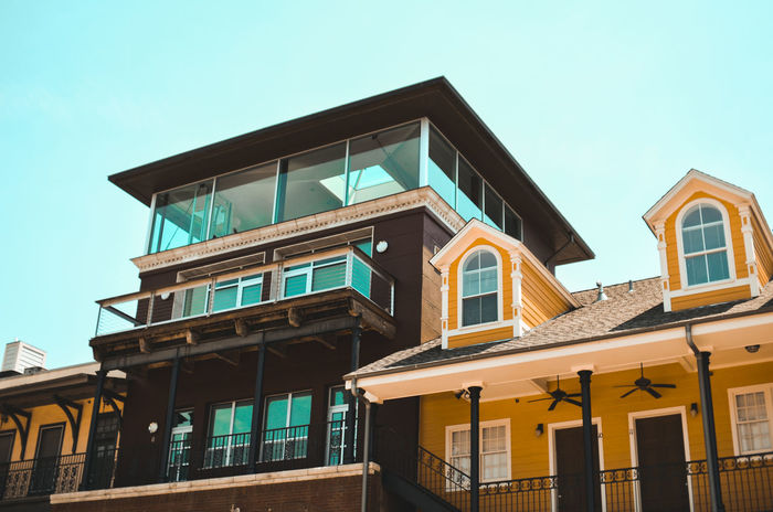 Modern houses Houses Modern Yellow House  Architecture Awning Blue Building Exterior Built Structure Clear Sky Day Hotel House Low Angle View Luxury Modern No People Outdoors Real Estate Real Estate Agent Rental Facility Residential Building Sky Window Window Front Yellow