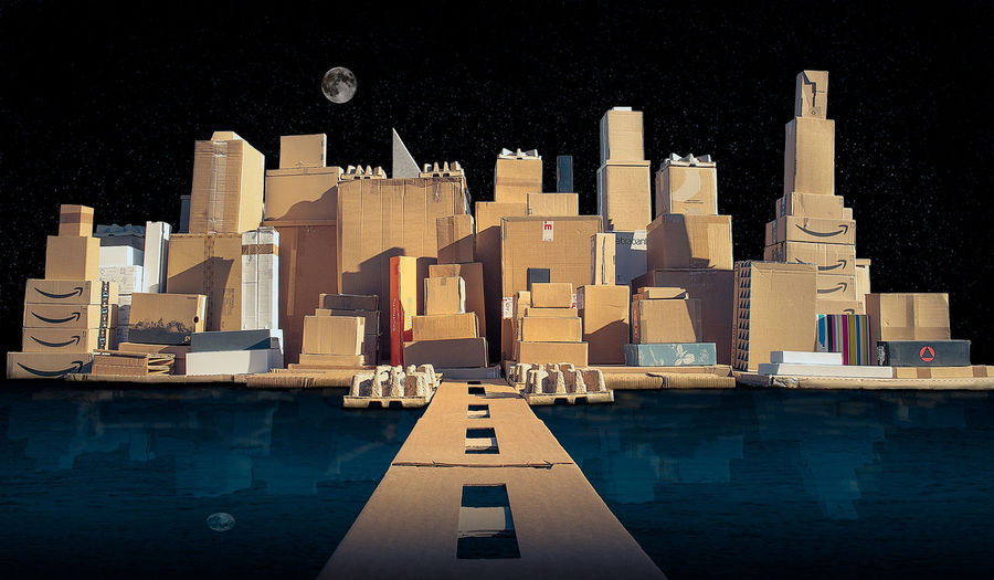 Cardboard city Architecture Built Structure Building Exterior Building Water No People Nature City Moon Sky Night Waterfront Outdoors Reflection Office Building Exterior Digital Composite Shape Travel Destinations Travel Skyscraper