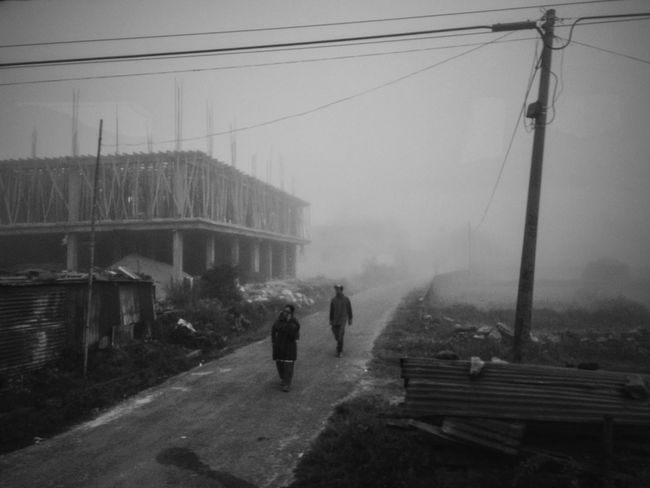 Nepal ASIA Nepali  Fog Foggy Foggy Morning Bnw Blackandwhite Black And White Black & White Blackandwhite Photography Black And White Photography Black&white Black Blackandwhitephotography Black And White Collection  Streetphotography Street Photography Street Streetphoto_bw Life People Two People Street Scene Built Structure