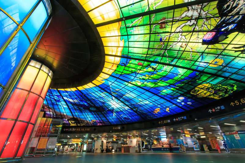 Kaohsiung, Taiwan - November 05, 2014: The Dome of Light at Formosa Boulevard Station, the central station of Kaohsiung subway system in Kaohsiung City. Architectural Feature Architecture ASIA Blue Building Built Structure Ceiling China City Formosa Formosa Boulevard Illuminated Interior Kaohsiung Low Angle View Metro Station Modern Mrt Mrt Station Multi Colored Orient Rock Skylight Taipei Taiwan