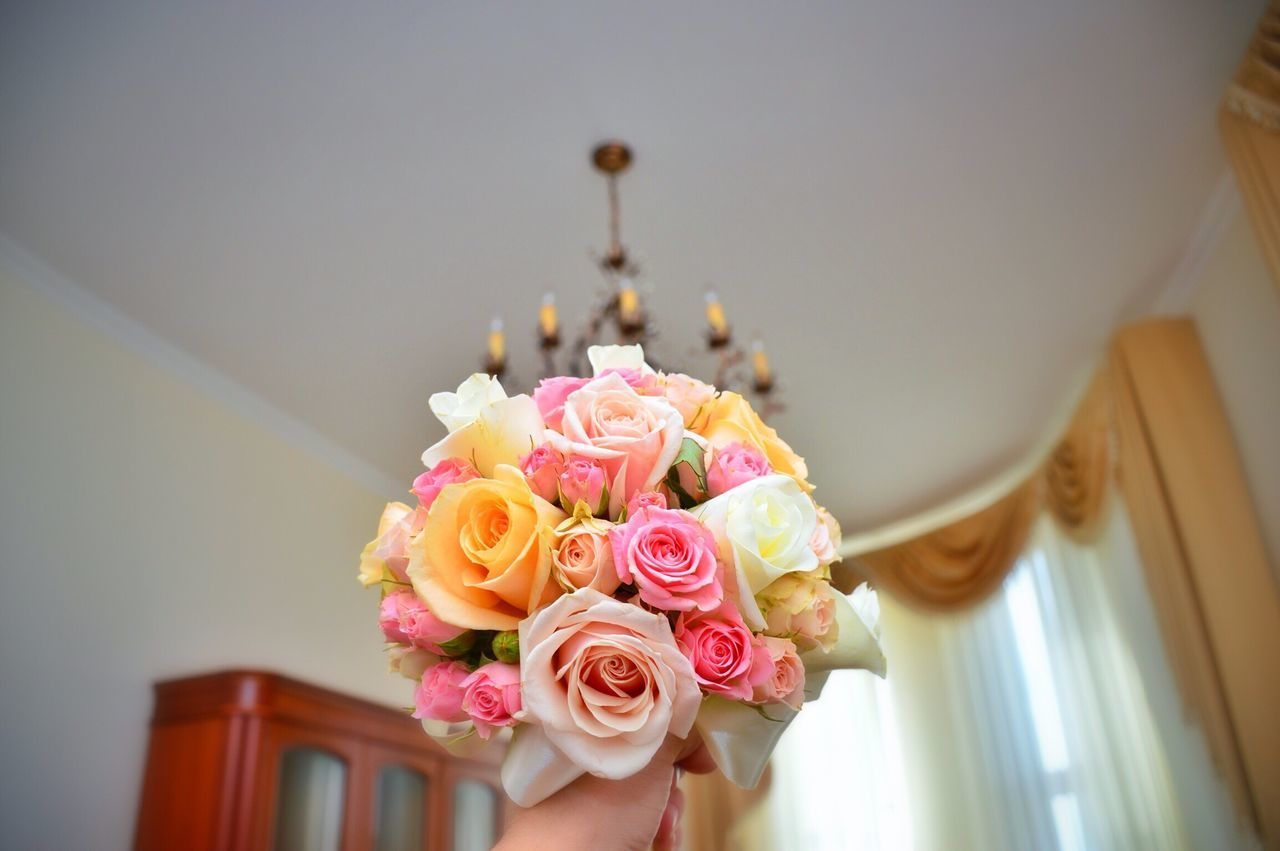 flower, wedding, rose - flower, no people, indoors, focus on foreground, close-up, life events, low angle view, pink color, freshness, flower head, day, fragility