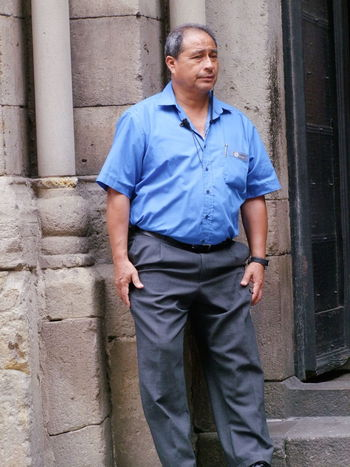 Spanish Security at Cathedral La Seu Adult Barcelona Blue Uniform Cathedral La Seu City Composition Front View Full Frame Man No Incidental People One Man Only One Person Outdoor Photography Portrait Security Guy Serious Face Spaın Sunlight Three Quarter Length Tourist Attraction  Tourist Destination Uniform