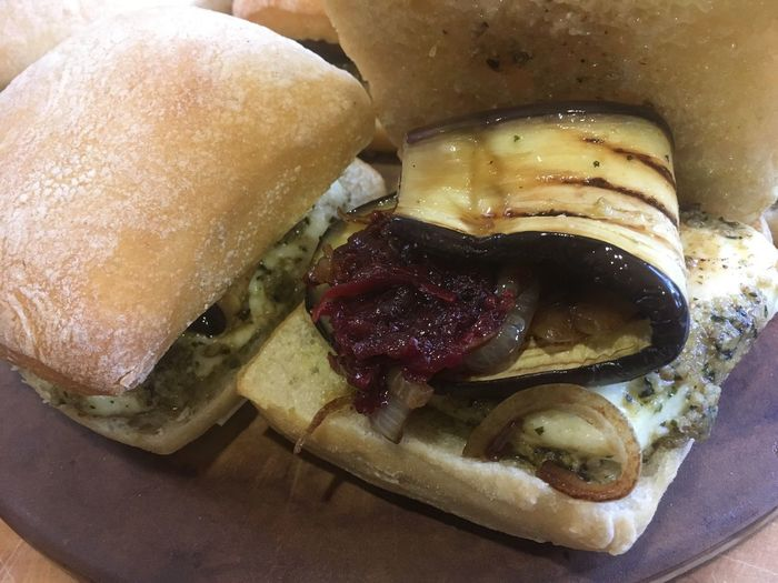 Halloumi burgers with pesto Caramelised onions beetroot salsa eggplant Nomnombomb Vegtables Healthy Eating Vegetarian Food Food And Drink Food Bread Ready-to-eat Freshness Indoors  No People Bun