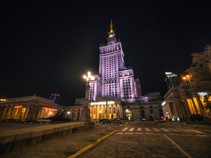 Poland Poland Is Beautiful Polska Warsaw Warsaw Poland Warszawa  Architecture Building Building Exterior Built Structure City Illuminated Low Angle View Night No People Outdoors Palace Poland 💗 Road Sky Street Tall - High Tower Transportation Travel