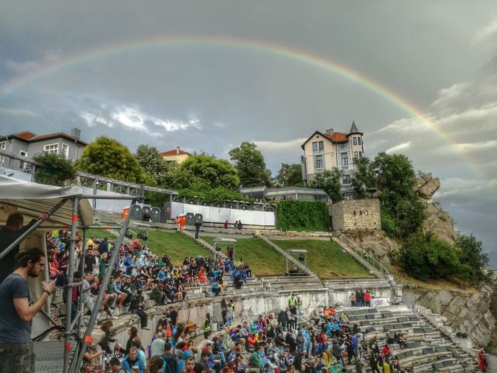 A shot from the Placebo's live performance in Plovdiv, July 2017 House On Top Of A Hill Placebo Plovdiv Concert Crowd Of People Placebo Plovdiv Plovdiv Theater Rainbow