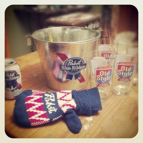 thanks Jay for the PBR swag, Pbrmittens Christmasgifts Bucket Oldstyle Pabst pints homie