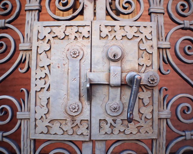 Church Architecture Close-up Design Door Door Handle Door Hardware Hinge Lock Metal Ornate Pattern Spanish Revival Wrought Iron
