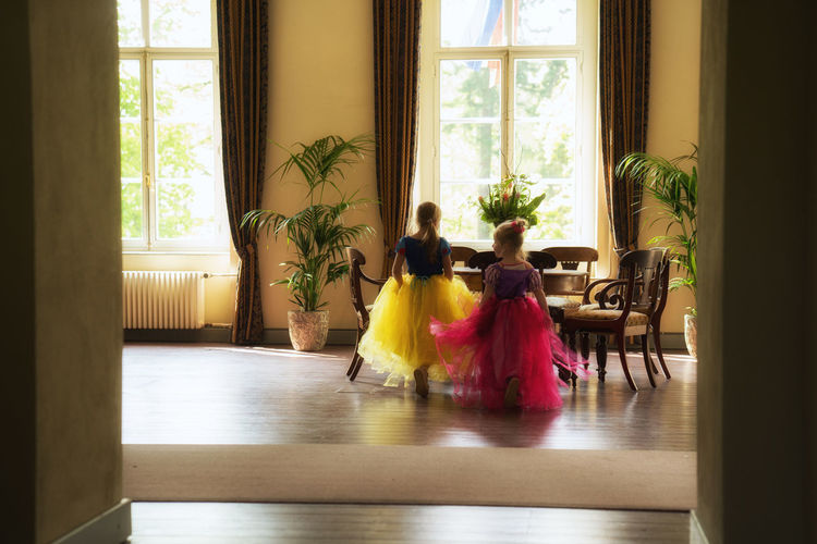 My 2 princesses in a real castle Indoors  Window Day Home Interior Princesses Princess Girls Kids Kids Being Kids Childhood Cosplay Fun Cute Castle People Living Room Playing Dressing Up