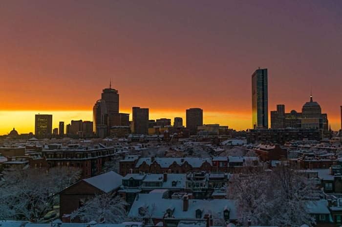 A very special few moments before darkness. Sunset Landscape City JohnRuggieri The Great Outdoors With Adobe Boston Snow Winter Architecture Skyline