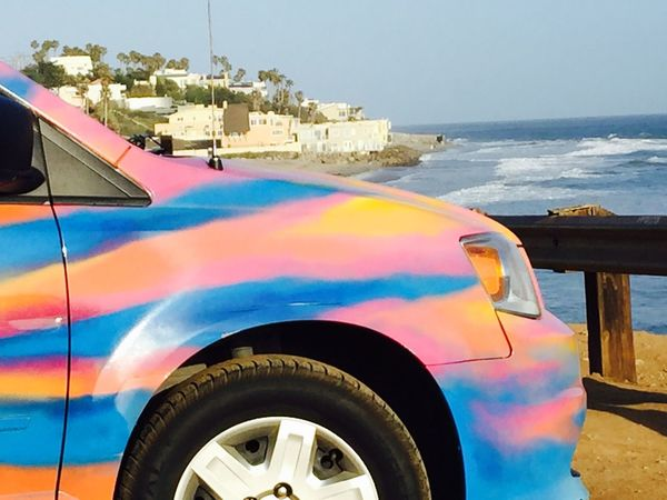 California New Age Hippies Hippy Surf Dude Car Flower Power🌼 Psychedelic Paint Job Pimp My Ride USA Road Trip Route 1, California Beach Party