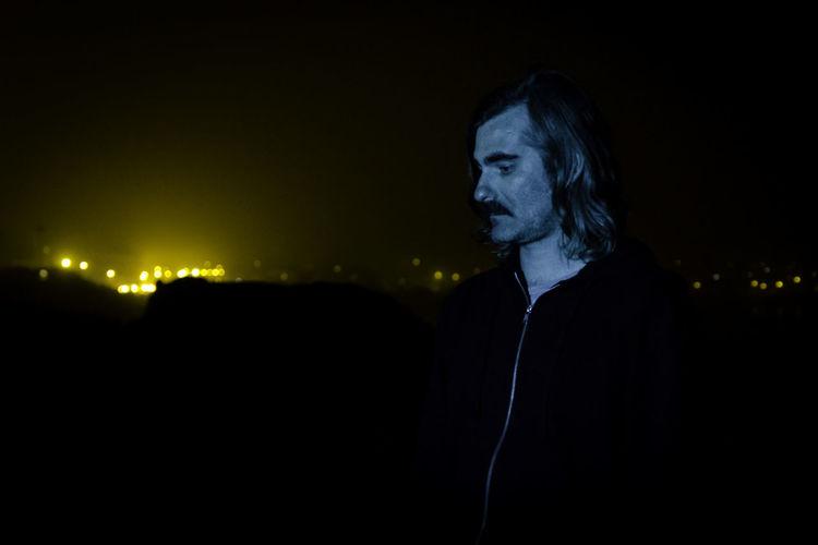 Dark Moustache Promo Adult City Lights Headshot Illuminated Musician Night One Person Outdoors Portrait Rockstar Weird Lighting Young Adult