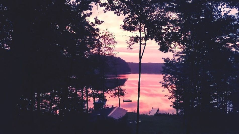 Lake Lake View Lakeshore River Riverside Raft Water Rippled Ripples Shades Pink Sunset Sunrise Shadow Trees Light Lakeside Tranquil Scene Tranquility Scenics Outdoors No People