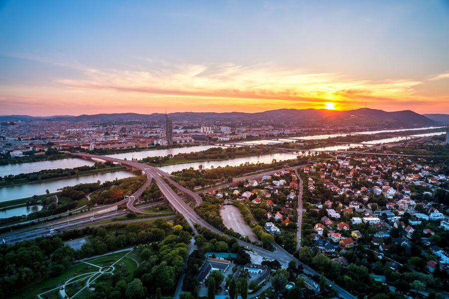 Vienna, Austria Austria Cityscape Danube Panorama Skyline Sunlight Travel Vienna View Donauturm Sunset Tourism Travel Destinations View From Above