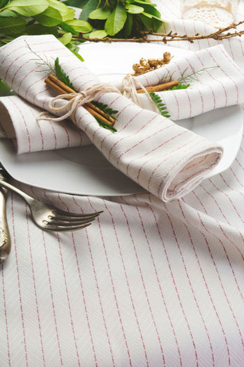 Napkins with cinnamons in plate on tablecloth