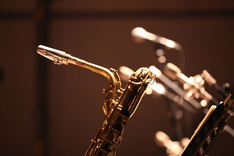 Close-up Of Saxophone And Microphones At Stage Theater