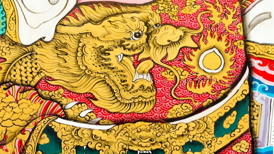 Legend Draw Dragon Colorful Chinese Thai Design Style Golden Ancient Retro Vintage Old Texture Temple Worship Beautiful Painting Wall Wallpaper Art Picture