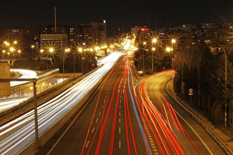 Speed highway Illuminated Night Long Exposure Light Trail Motion Transportation City Speed Street Road Architecture Blurred Motion City Life Highway High Angle View Street Light Traffic Cityscape Vehicle Light Light Multiple Lane Highway Time Lapse Photography Time Lapse Madrid Spain
