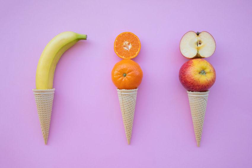 Banana Ice Orange Apple - Fruit Concept Cone Fresh Fruits Horn Ice Cream Idea