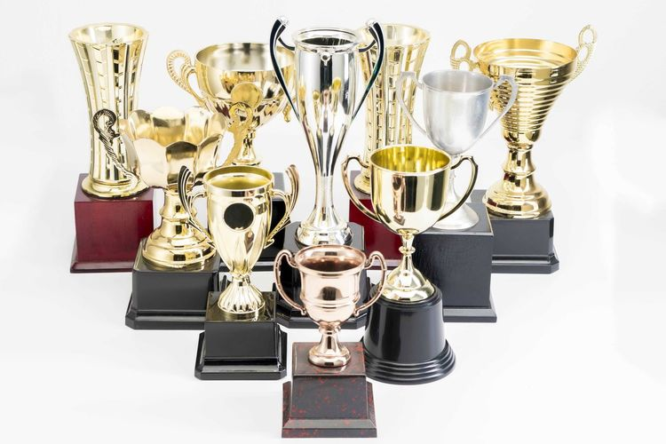 Variety of Trophy Cup on white background AWARD Trophy Achievement Metal Winning Success Still Life Studio Shot Indoors  No People Silver Colored Shiny Medal Competition White Background Close-up Sport Gold Colored Pride Cut Out