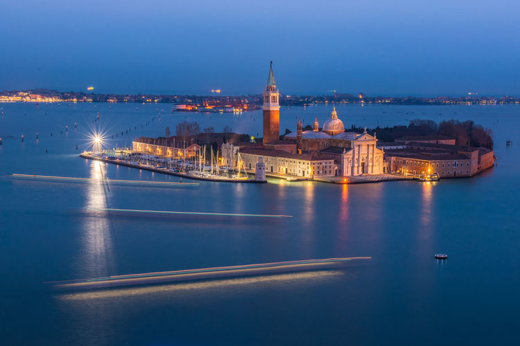 Illuminated san giorgio maggiore against sky at night