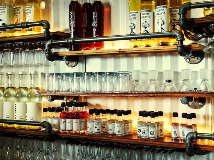 Variation Indoors  Large Group Of Objects In A Row Choice Order Abundance Retail  Collection Arrangement No People History Aquavit Distillery Tourism Craft Distillery Bar Alcohol Alcohol Bottles Cherry Bounce Industrial Beautifully Organized