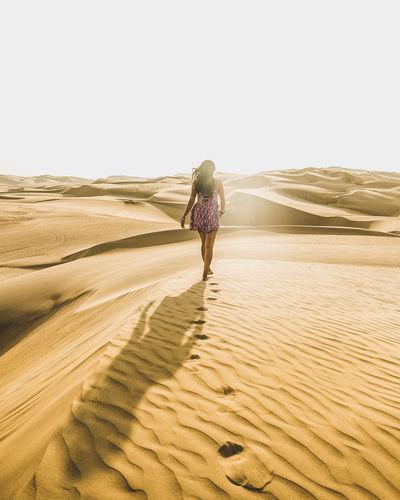 Desert Arid Climate Ica Pisco Waking Sand Dunes Sand Dune Hot Weather Woman Walking Dress Sexywomen Steps FootPrint Shadow Sunight Freedom Free Peru Desierto De Las Palmas
