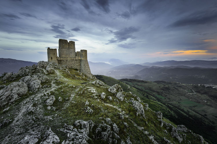 Landscape_Collection Landscape_photography Landscape Europe Italy Abruzzo - Italy Abruzzo Ancient Civilization Mountain Sunset History Architecture Sky Building Exterior Castle Old Ruin Medieval