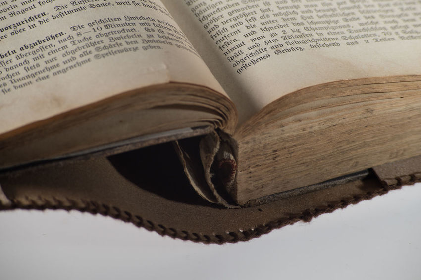 Object Photography Training: Old Book Old Fashioned Book Close Up Cooking Book High Angle View Indoors  No People Object Photography Old Studio Photography