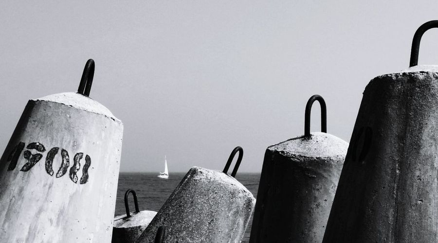 Port Concrete Hedgehogs Sea Black And White Photography Blackandwhite Photography