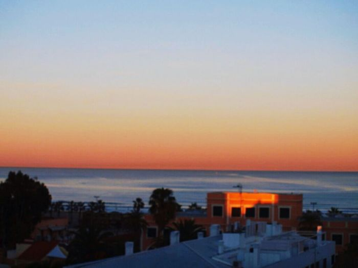 Horizon Over Water Dusk Sky Sea Beach Scenics City Water Vacations Travel Destinations Valencia, Spain Malvarosa Sunset Architecture No People Silhouette Building Exterior Built Structure Community Outdoors Clear Sky Cityscape